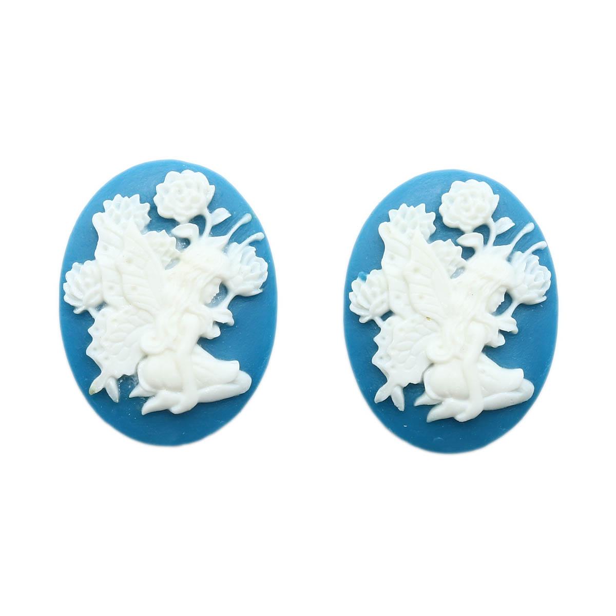 ARS0210 Камеи 'Фея', (полимер), бело-голубой, 3*4*0,5 см, упак./2 шт., Vintage Line