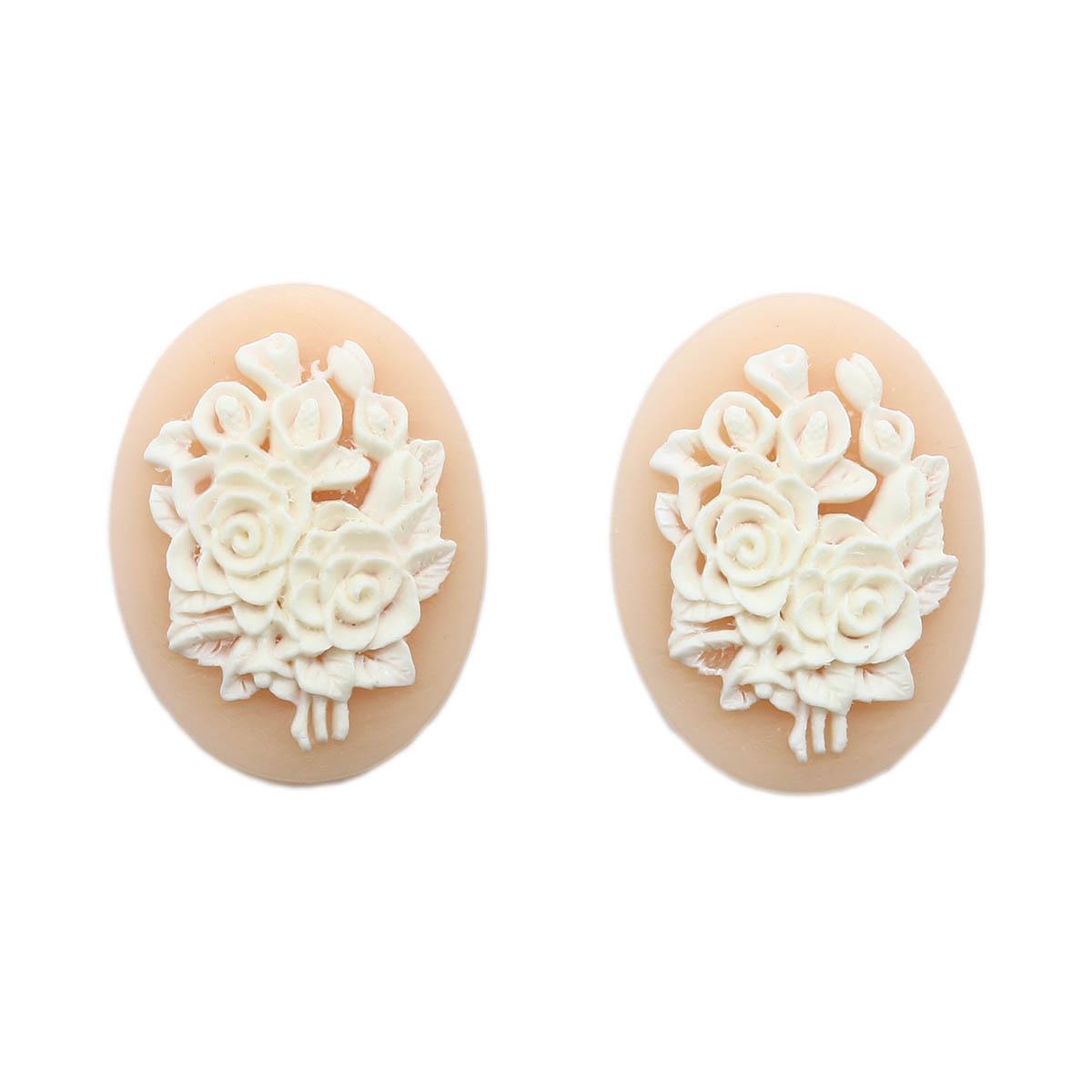 ARS0211 Камеи 'Цветы', (полимер), бело-розовый, 3*4*0,5 см, упак./2 шт., Vintage Line