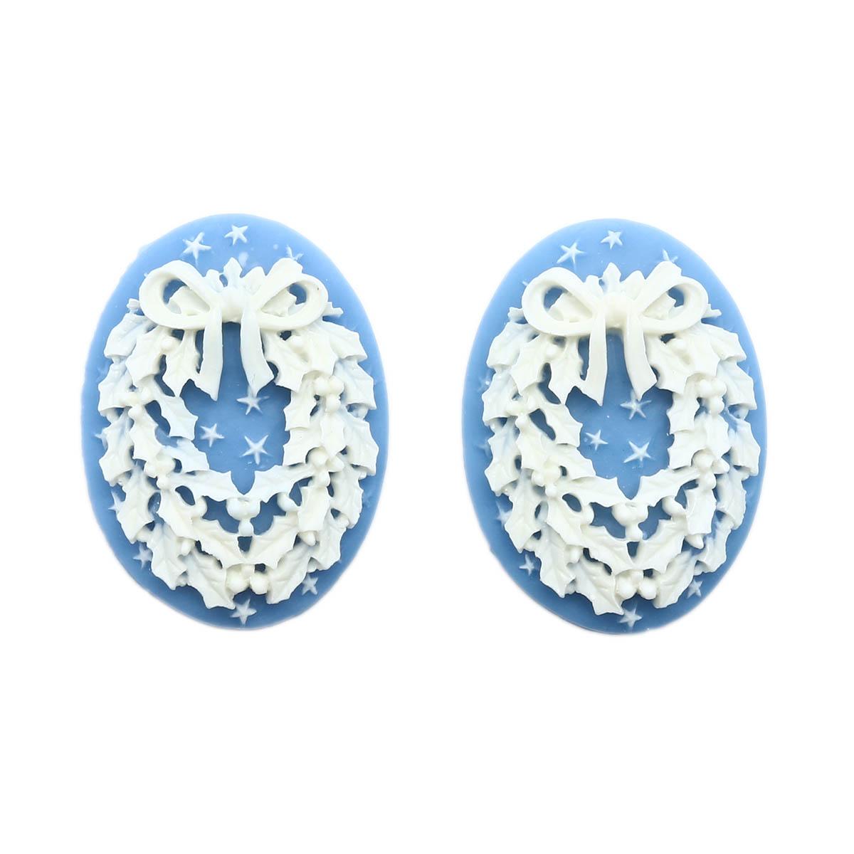 ARS0215 Камеи 'Венок', (полимер), бело голубой, 3*4*0,5