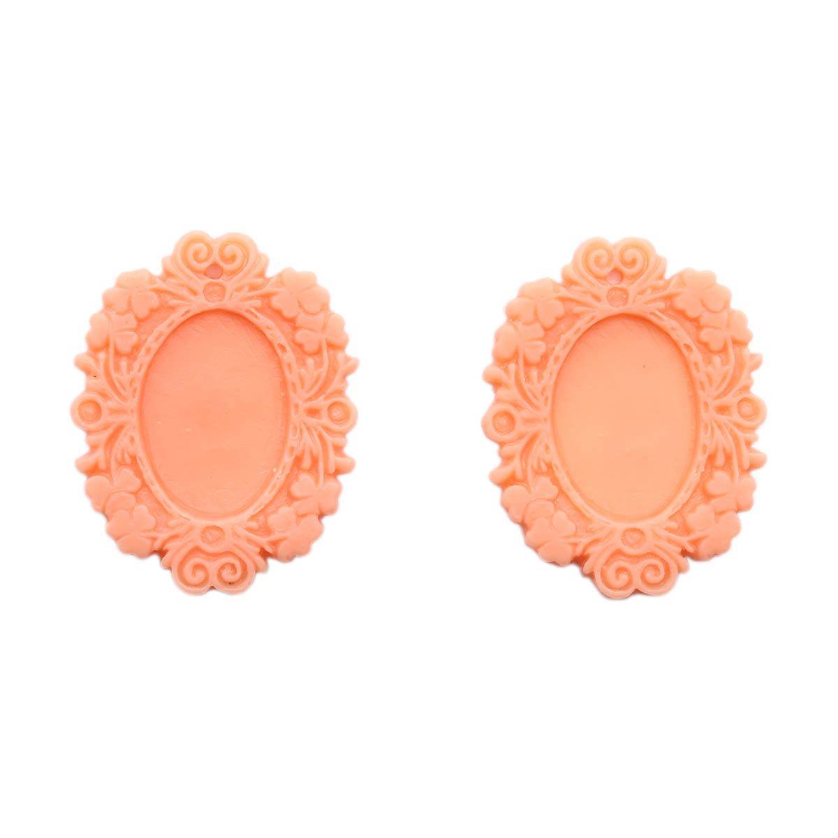 ARS0230 Основы для камей, розовый, вн.3,9*5/внутр.1,8*2,5
