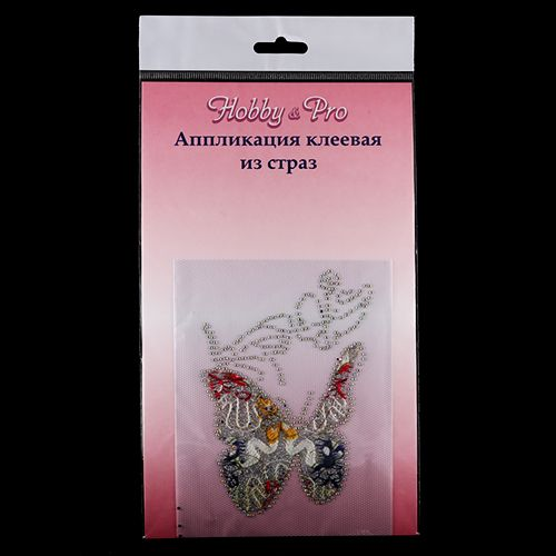 Аппликация клеевая из страз '3 бабочки', Hobby & Pro
