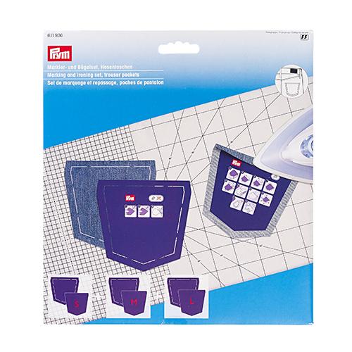 611936 Набор шаблонов карманов для брюк (шаблон для маркировки 3шт, шаблон для глажки 3шт) Prym