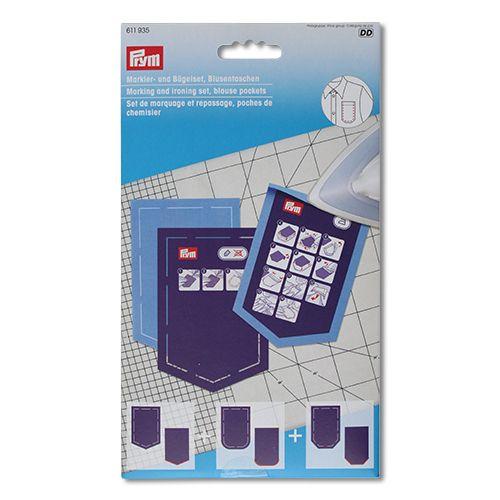 611935 Набор шаблонов карманов для блузки (шаблон для маркировки 3шт, шаблон для глажки 3шт) Prym