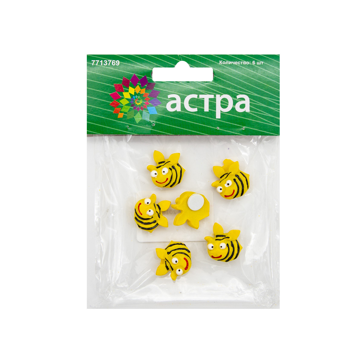 LR15-4600 Объемные фигурки 'Пчелка' (полимер), 2*2 см, упак./6 шт., 'Астра'