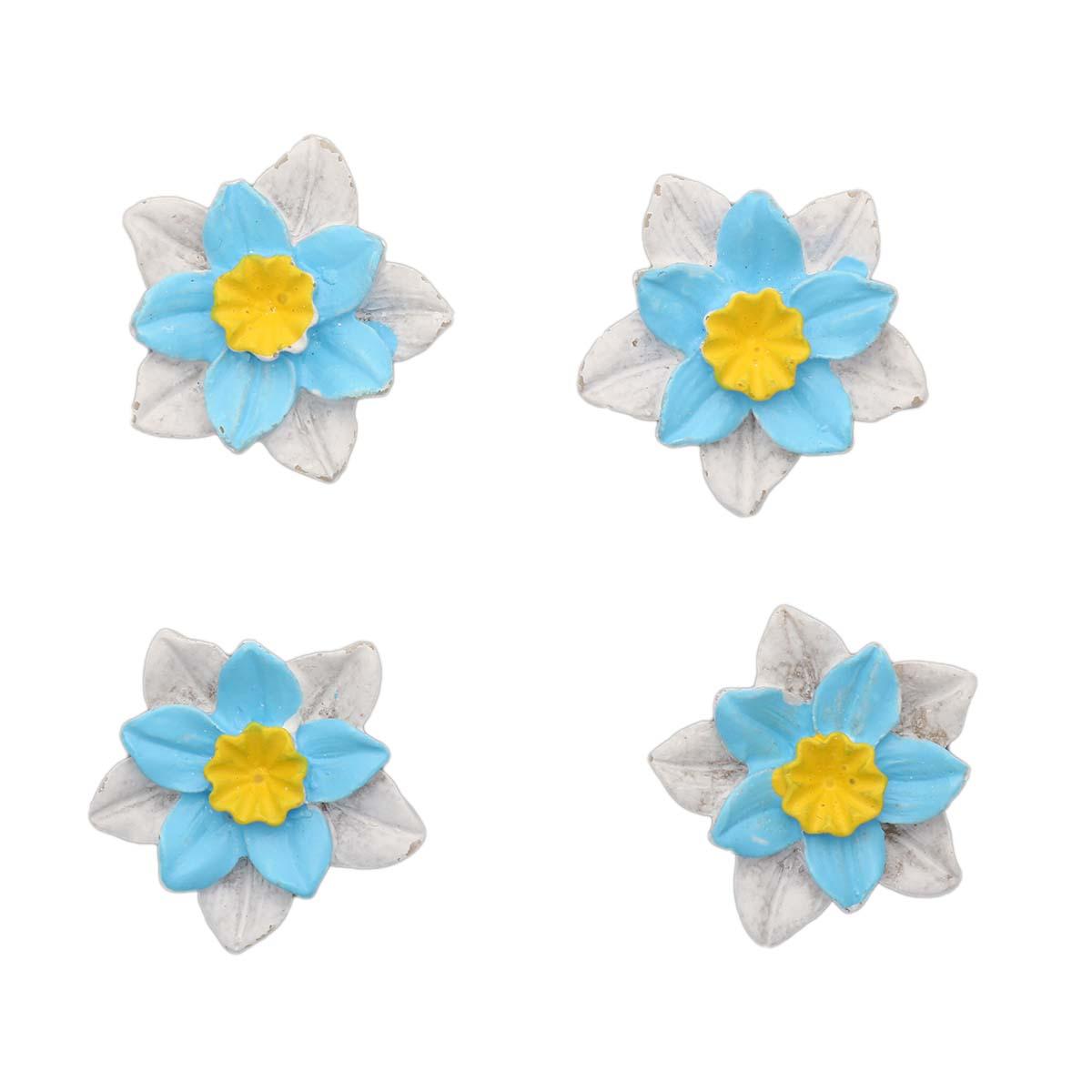 LR15 4618 Объемные фигурки 'Цветок' (полимер), бело