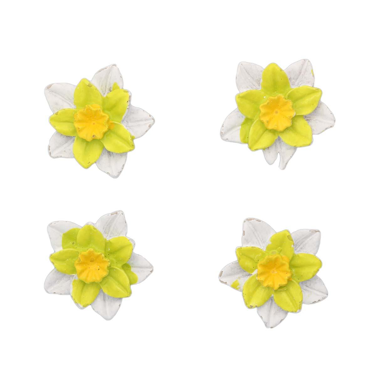 LR15 4621 Объемные фигурки 'Цветок' (полимер), бело