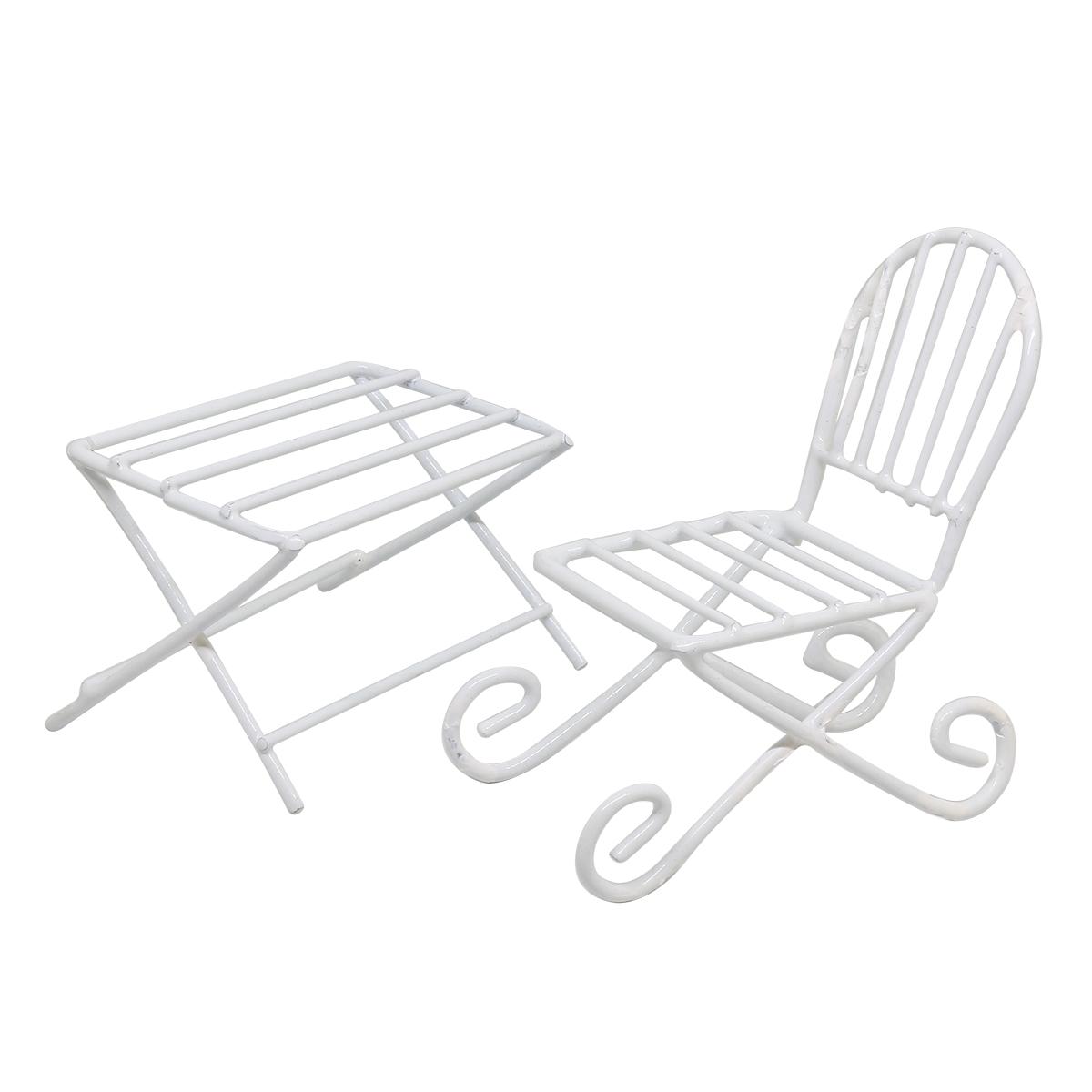 SCB271024 Металлические чайный столик и кресло белые. Стол 6*4 см, кресло 4*7,5 см, ScrapBerry's