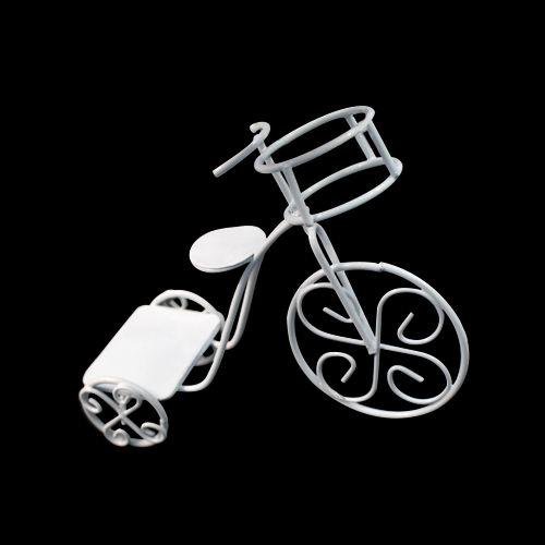 Металлический мини велосипед с корзинкой белый 11*4,5*9см SCB271026