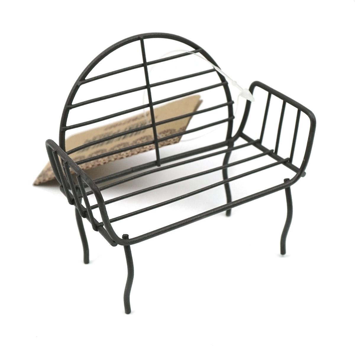 SCB271027 Металлическая мини скамейка с круглой спинкой, коричневая, 3*5,5*8 см, ScrapBerry's
