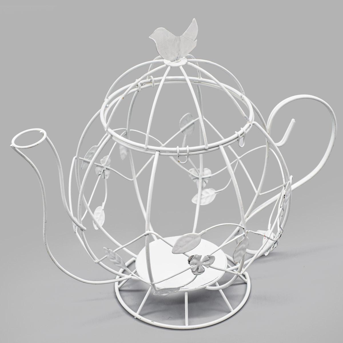 SCB271038 Металлический чайник с птичкой, белый, 30,5*18,5 см, ScrapBerry's