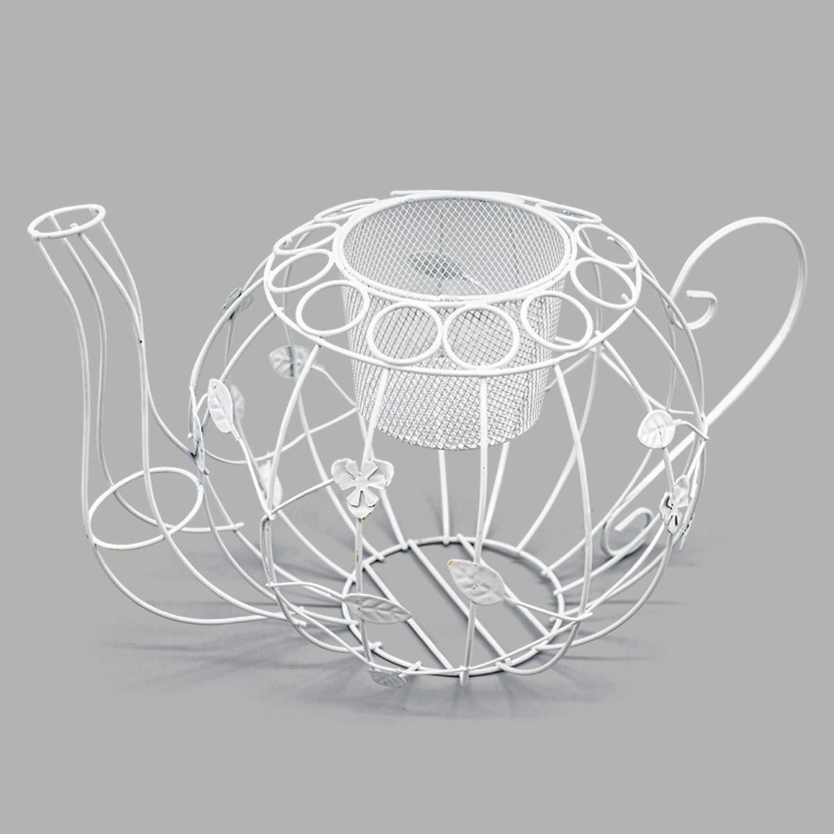 SCB271039 Металлический чайник с ситечком для цветов, белый, 31*20 см, ScrapBerry's