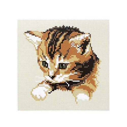 BZ019 Мозаика на деревянной основе 'Котик', 20*20 см