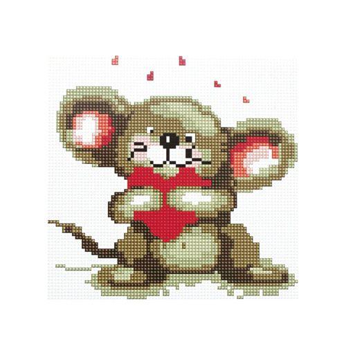 BZ057 Мозаика на деревянной основе 'Мышонок', 20*20 см