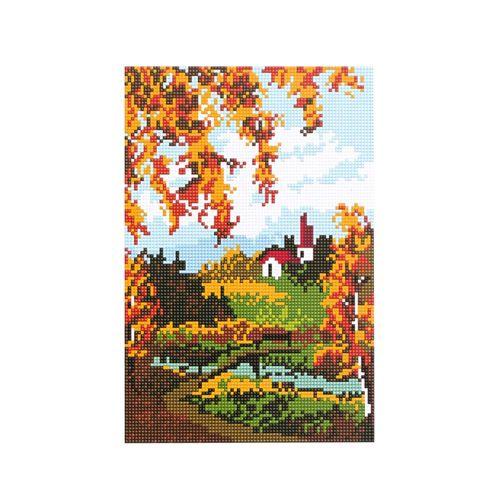 CZ011 Мозаика на деревянной основе 'Осень за городом', 20*30 см