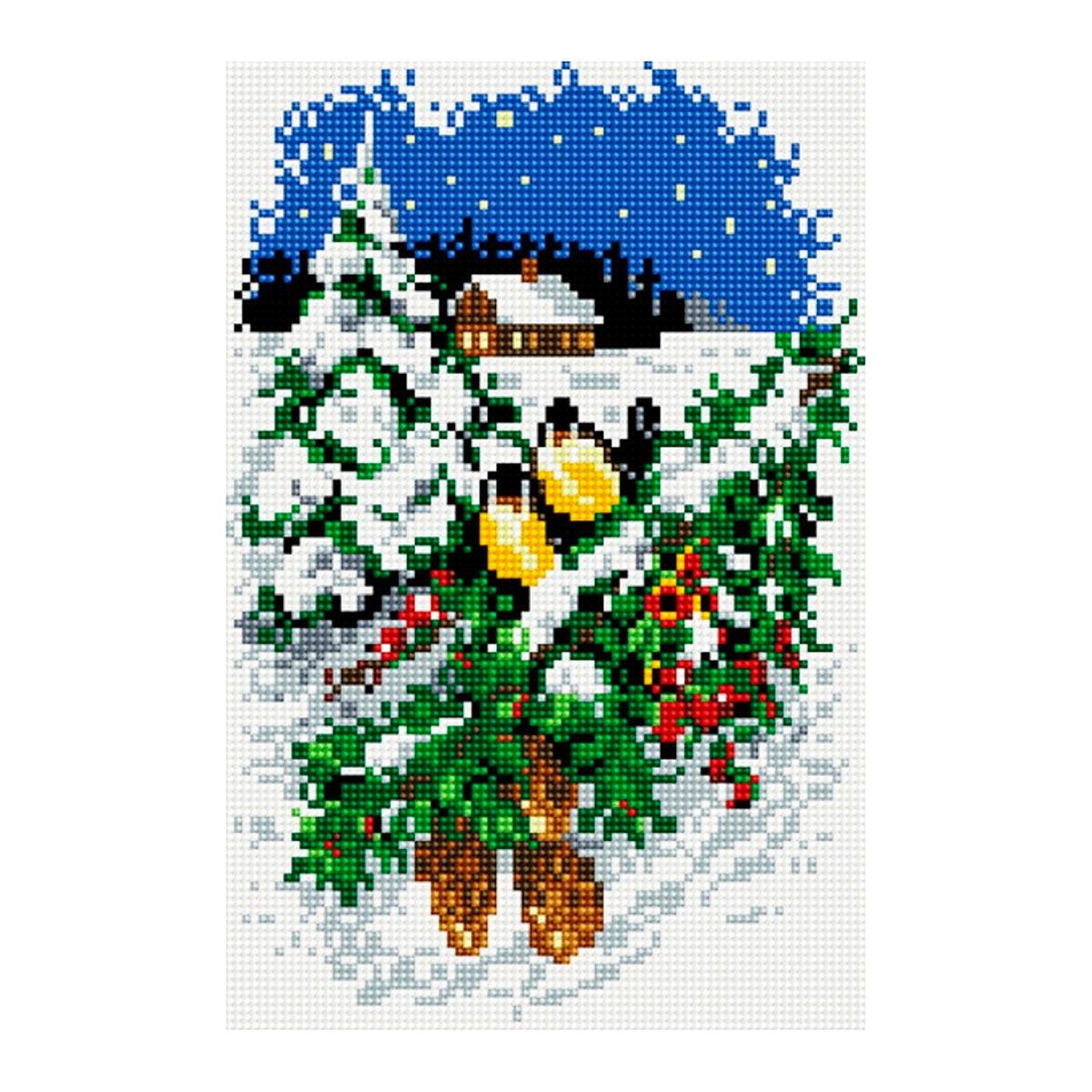 CZ016 Мозаика на деревянной основе 'Накануне праздника', 20*30 см