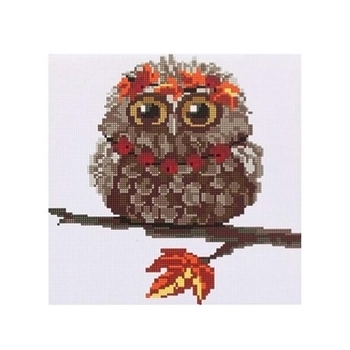 DZ010 Мозаика на деревянной основе 'Совушка осень', 30*30 см