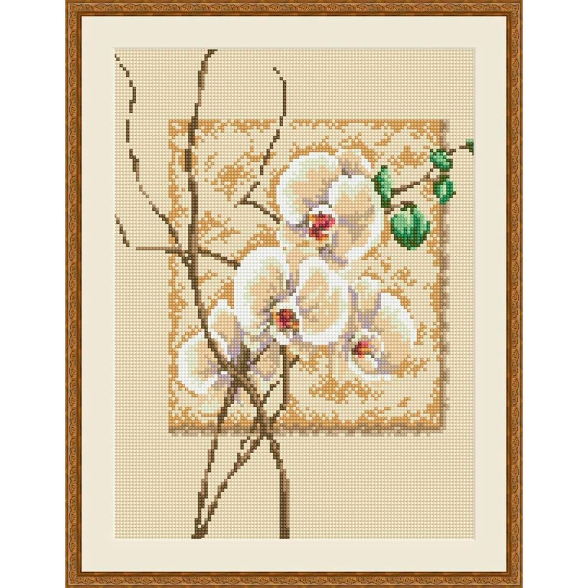 EZ009 Мозаика на деревянной основе 'Орхидея', 30*40 см