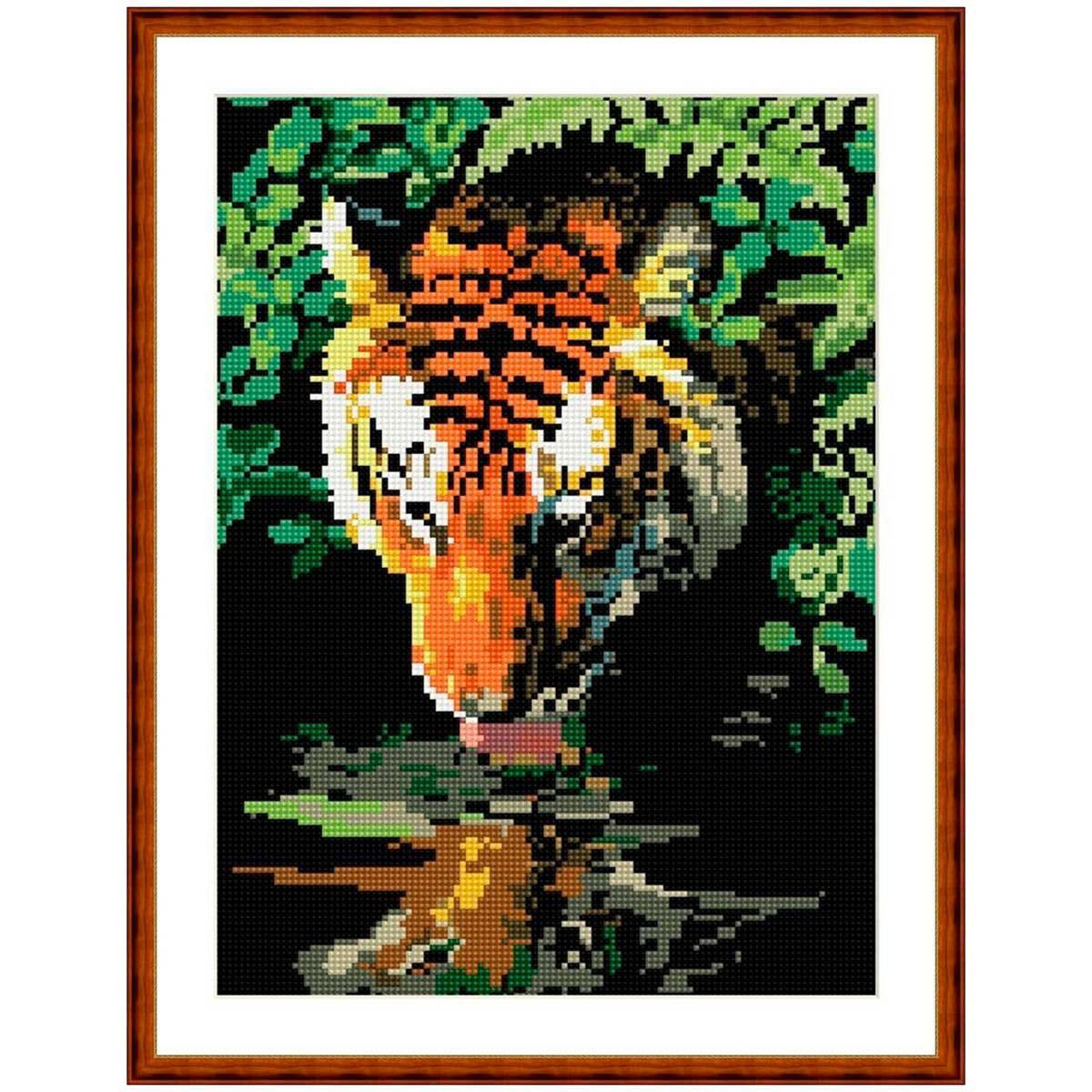 EZ015 Мозаика на деревянной основе 'У водопоя', 30*40 см