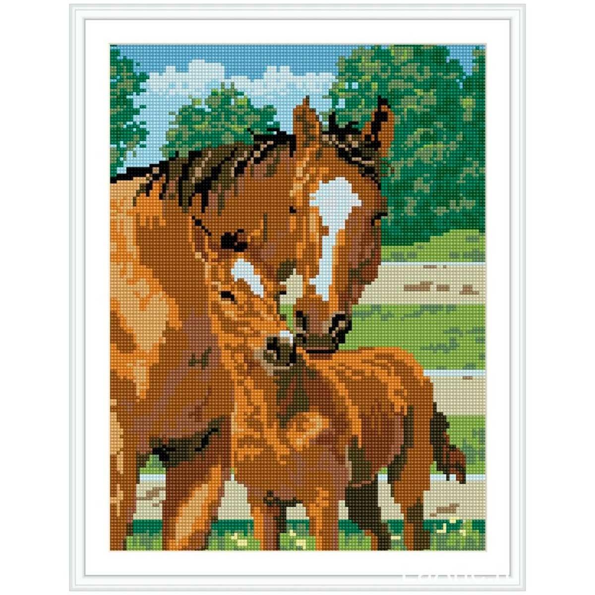 EZ017 Мозаика на деревянной основе 'На прогулке', 30*40 см