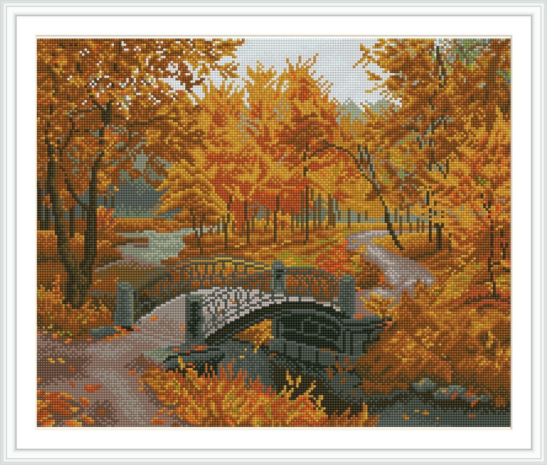 GZ166 Мозаика на деревянной основе 'Осенний парк', 40*50см