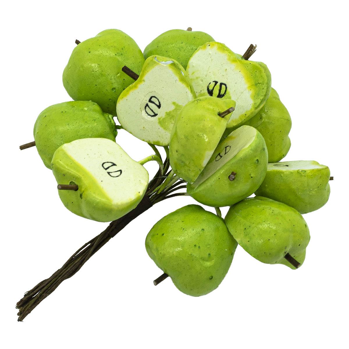 GF15-192 Декоративный букетик 'Яблоки половинки', зеленые, упак./12 шт., 'Астра'