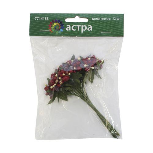 H31-8836 Декоративный букетик 'С красными ягодками', упак./12 шт., 'Астра'