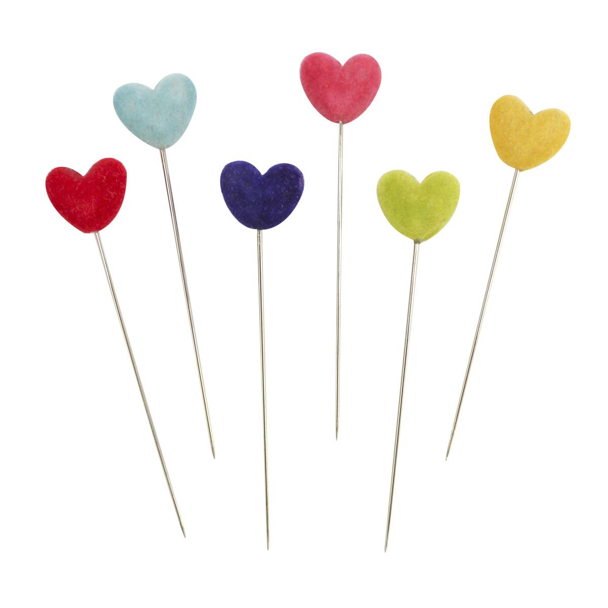 H17-L1378 Булавки декоративные с цветными сердечками, упак./6 шт., 'Астра'