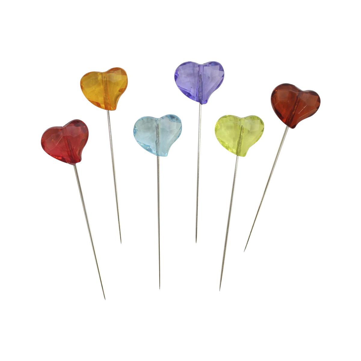 H17-L1373 Булавки декоративные с цветными сердечками, упак./6 шт., 'Астра'