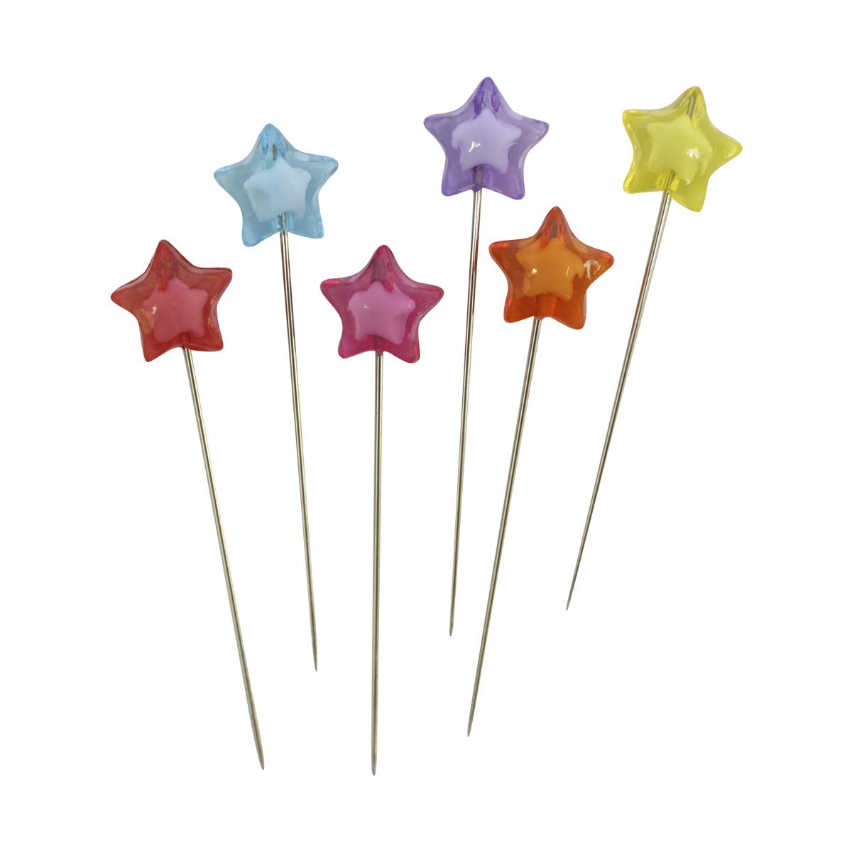 H17-L1316 Булавки декоративные с цветными звездочками, упак./6 шт., 'Астра'