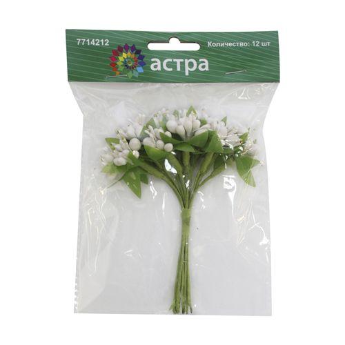 H31-9142/1 Декоративный букетик 'С белыми ягодками', упак./12 шт., 'Астра'