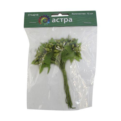 H31-9142/8 Декоративный букетик 'С зелеными ягодками', упак./12 шт., 'Астра'