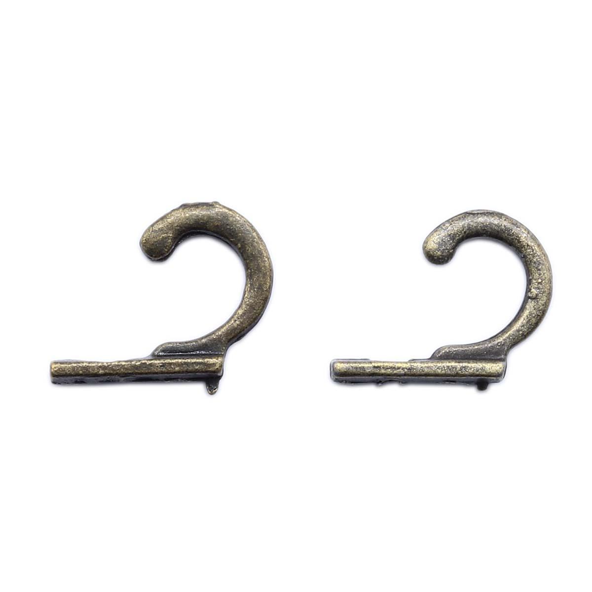 Крючок декоративный 6,5*21 мм, 2шт бронза