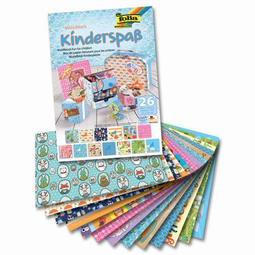 47649 Набор дизайнерского картона 'Веселье для детей', 13 л.*270 г/м², 13 л.*80 г/м², 24*34 см, Folia