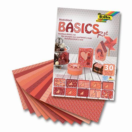 46249 Набор дизайнерского картона 'Базовый красный', 10 л.*270 г/м², 10 л.*115 г/м², 10 л.*130 г/м², 24*34 см, Folia
