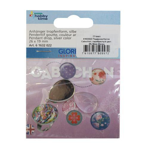 61632022 Подвеска Капля Cabochon, серебристый цвет, 26x19мм Glorex