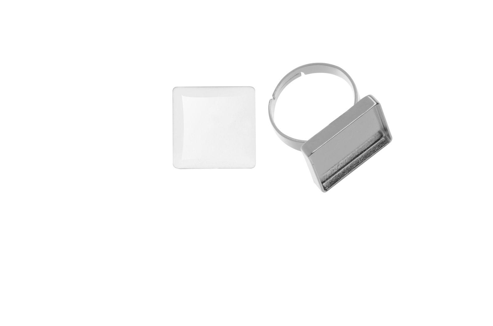 61633001 Кольцо квадратное Cabochon, серебристый цвет, 20x20мм Glorex