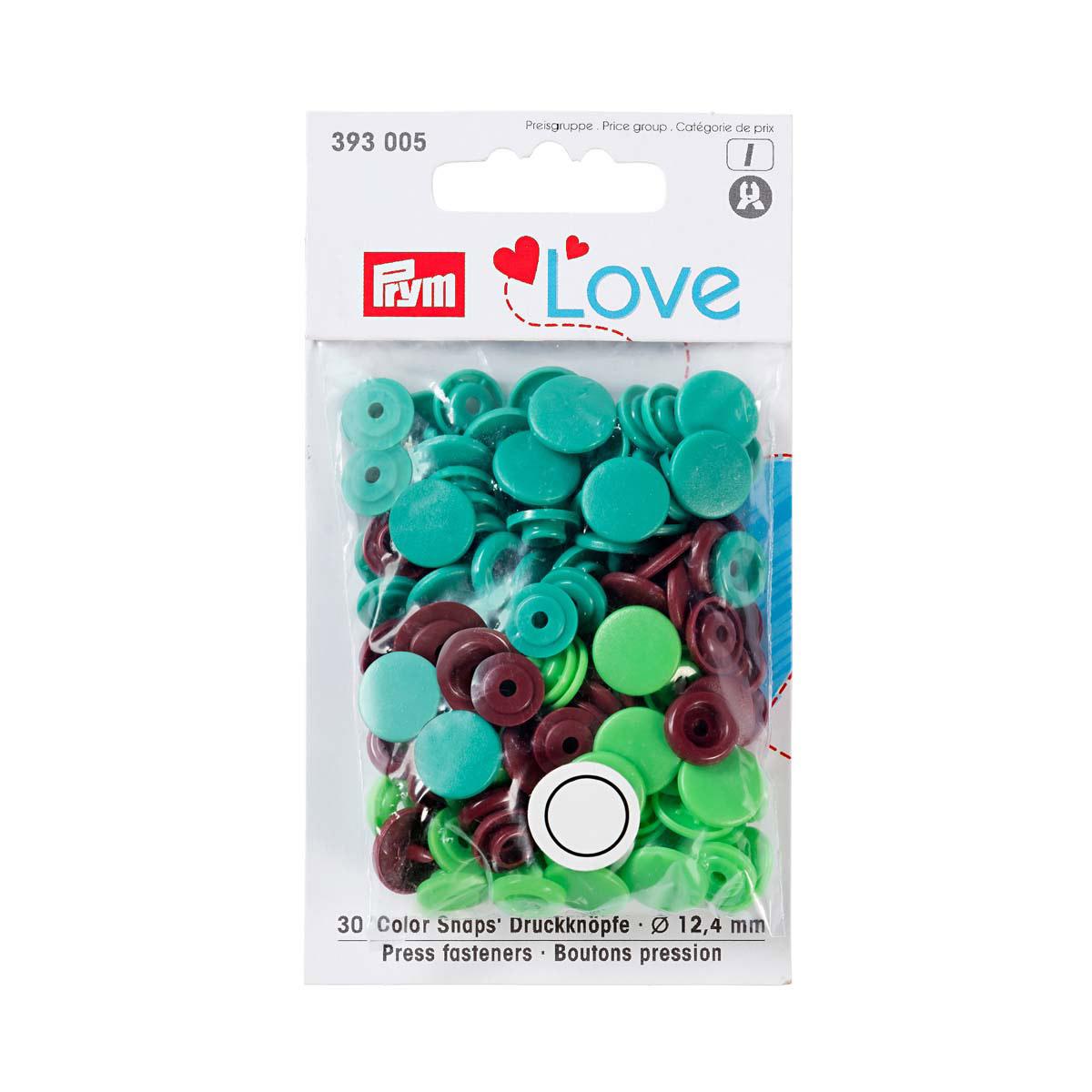 393005 Kнопки Color Snaps PrymLove, зеленый/коричневый цв., 12мм, 30шт Prym