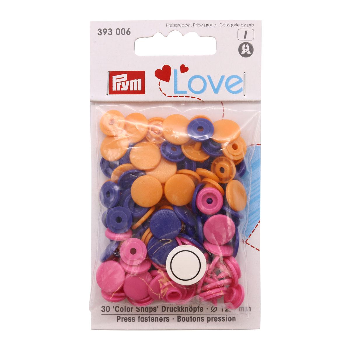 393006 Kнопки Color Snaps PrymLove, оранж./розовый/фиол цв., 12мм, 30шт Prym