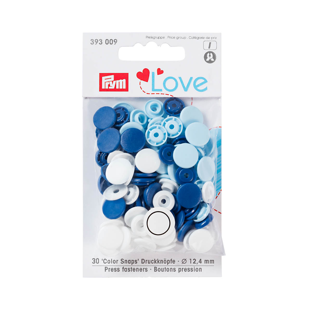 393009 Kнопки Color Snaps PrymLove, синий/голубой/белый цв., 12мм, 30шт Prym