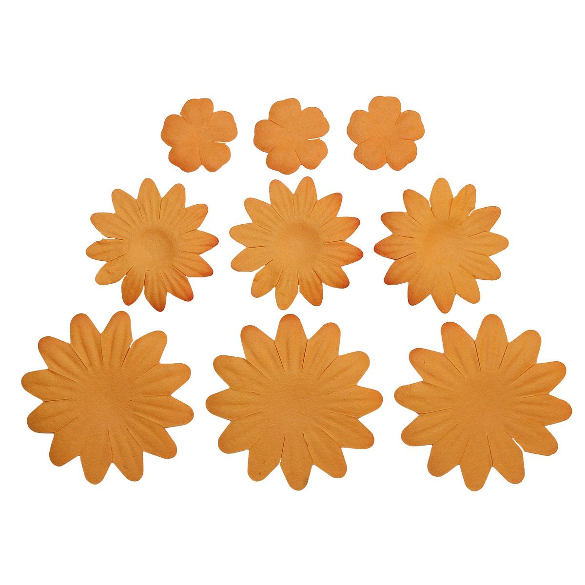 Набор принтованных бумажных цветочков 20мм, 35мм, 50мм 60шт 27444
