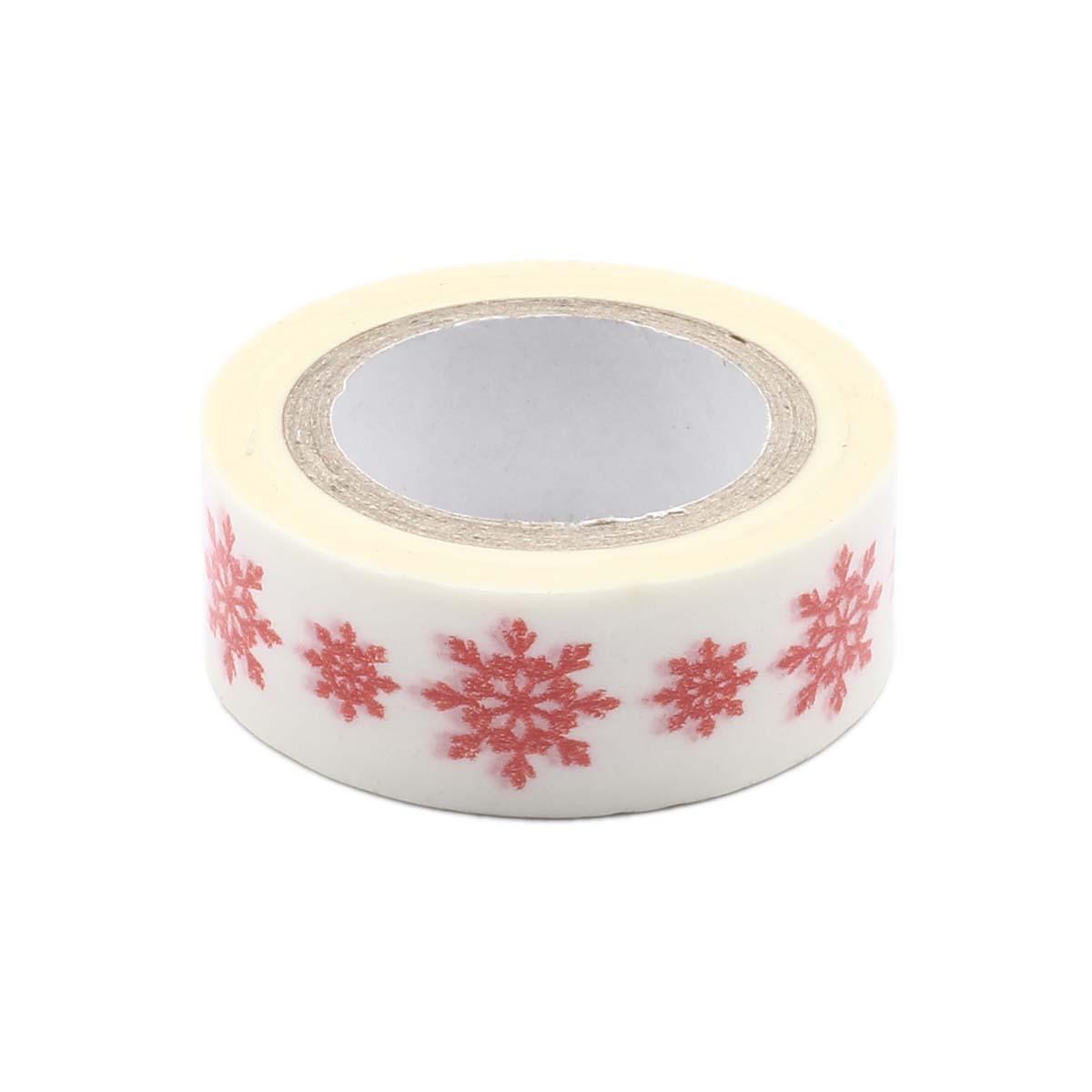 SCB4905023 Скотч бумажный 'Снежинки красные', 15 мм*8 м, ScrapBerry's