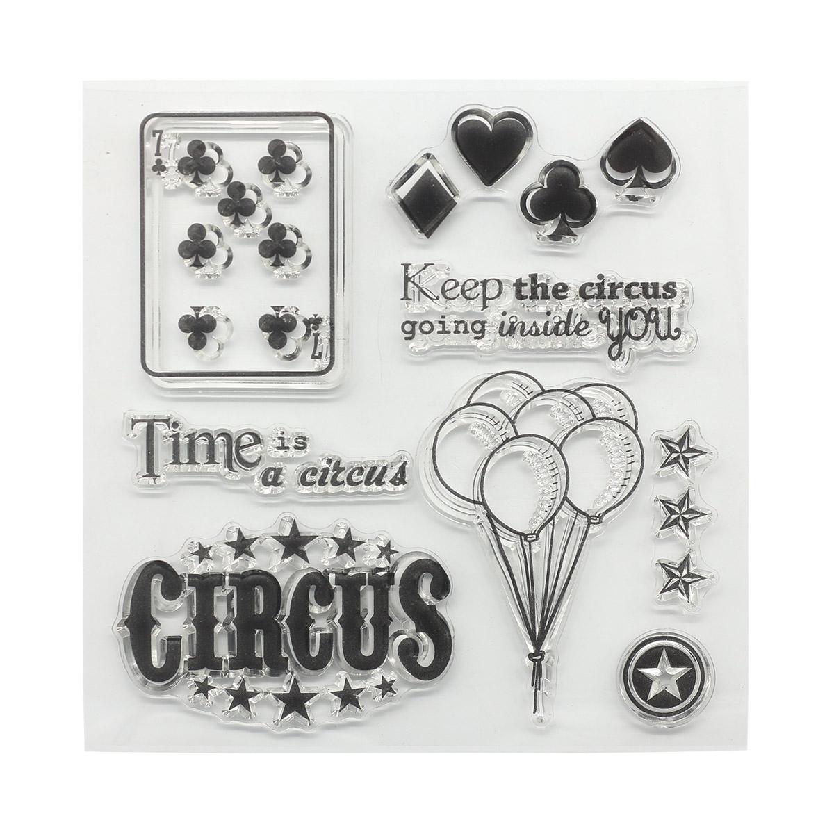 Набор штампов 10,5*10,5см Старый цирк. Карты (англ.) SCB4904024b