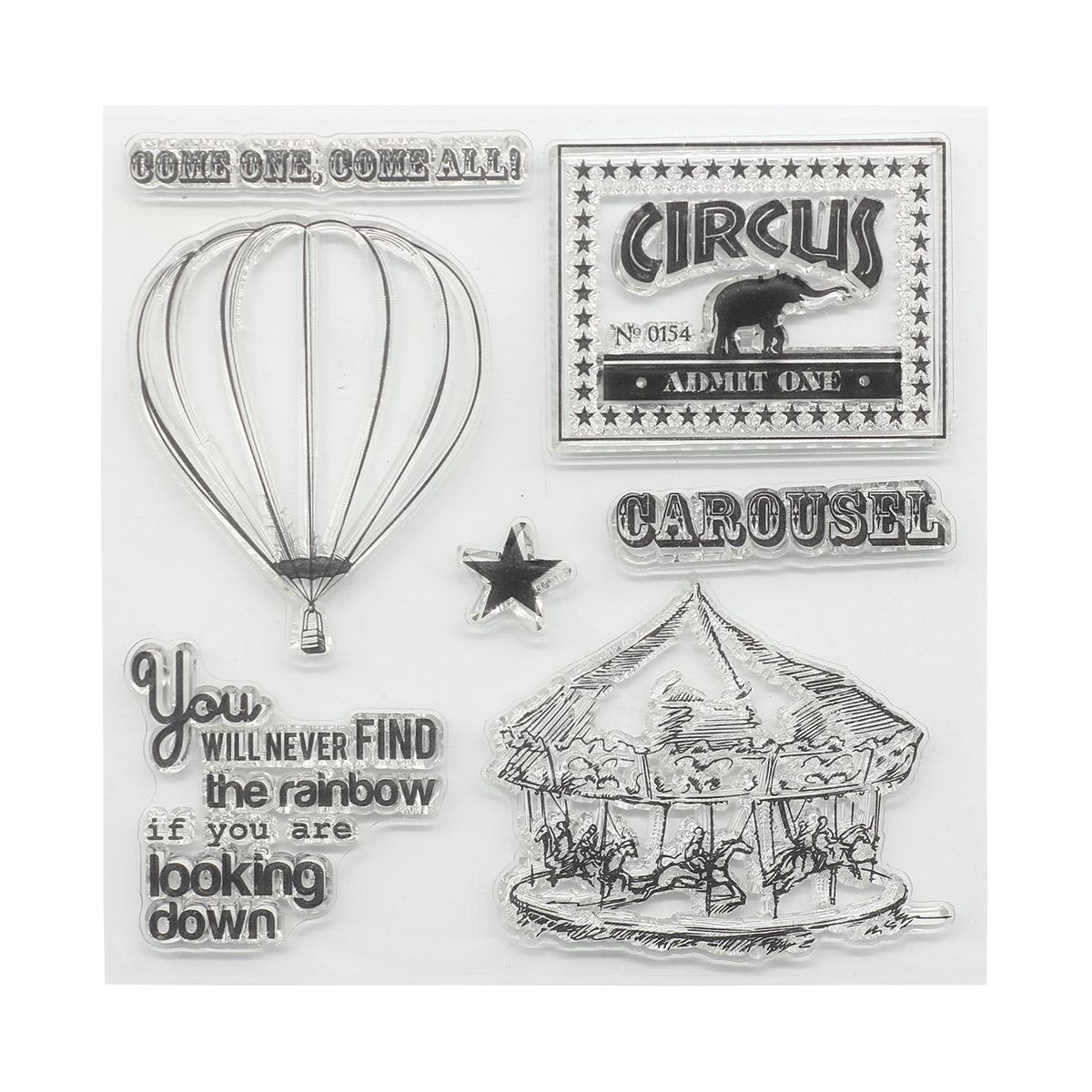 Набор штампов 10,5*10,5см Старый цирк. Карусель (англ.) SCB4904022b
