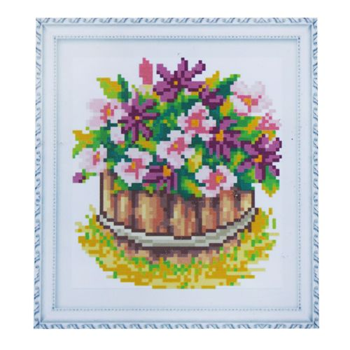 1727 Мозаика Cristal 'Корзина цветов 2', 15*17 см