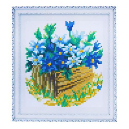 1728 Мозаика Cristal 'Синие цветы', 15*17 см