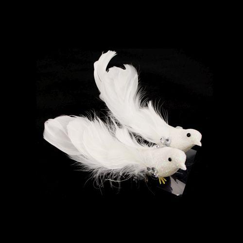 Украшение Птички с акриловыми камушками Белые 2 шт./уп. SCB26003026
