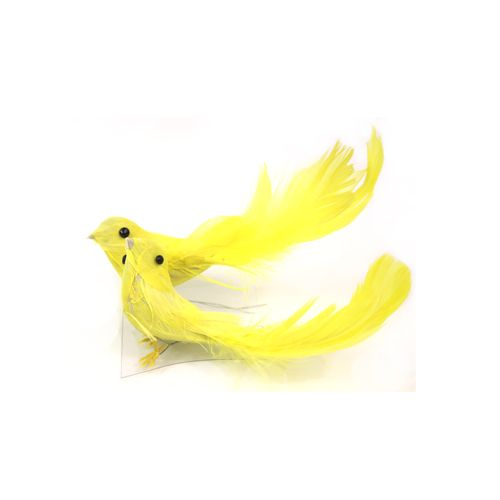 Украшение Птички с акриловыми камушками Желтовато-лимонные 2 шт./уп. SCB26003027