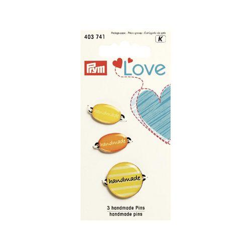 403741 Эмблемы Handmade Prym Love, металл/пластик, желтый, упак./3 шт., Prym
