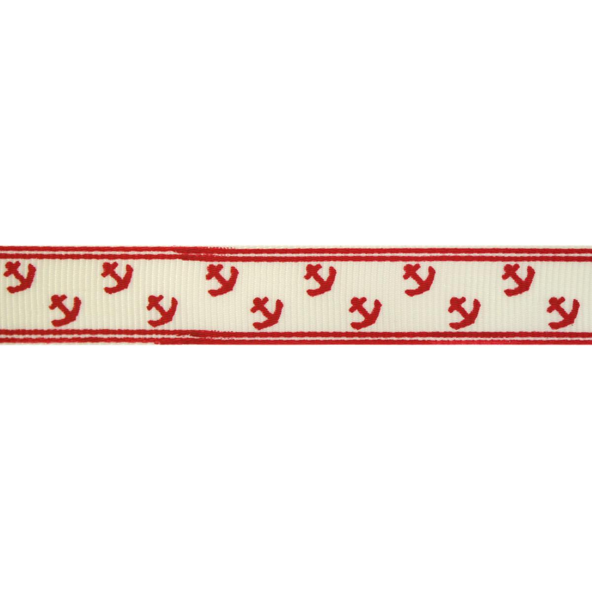 Лента репсовая 'Орнамент Якорь ' 2см*22,86м (молочный/красный) фото