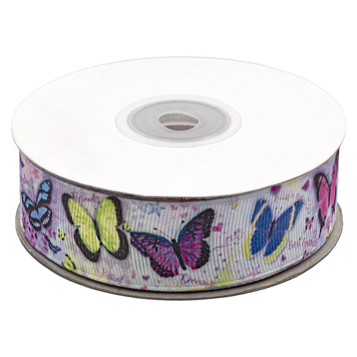 Лента репсовая 'Бабочки 3' 2,5см*22,86м